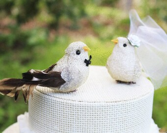 Bird Wedding Cake Topper in Gold and Ivory: Bride & Groom Love Bird Cake Topper -- LoveNesting Cake Toppers