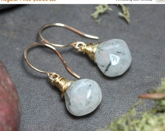 On Sale Tourmalinated Quartz Earrings Rustic Jewelry Gold Wire Wrapped Black and White Earrings