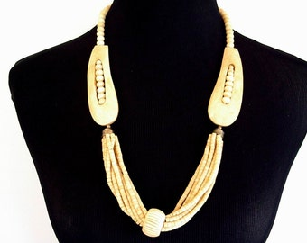 Vintage Animal Bone Carved Bead Necklace with Metal Clasp