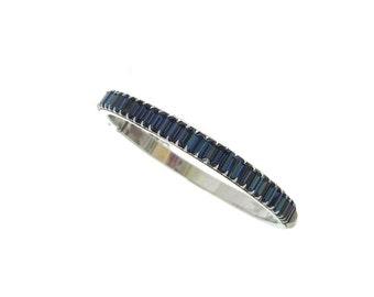 Sapphire Bangle Bracelet, Vintage Baguette Rhinestone Cuff, 1940s Fine Vintage Jewelry, Wedding Jewelry, Vintage Jewellery