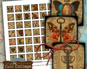 Locks and Key Digital Collage Sheet 1x1 Inch Squares for Pendants, Magnets, Charms, Soldered Jewelry, Glass Dome Pendants, Steampunk Art