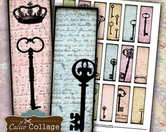 Keys Collage Sheet 1x3 Digital Collage Sheet Printable Download Images for Glass and Resin Pendants MicroSlides Magnets Calico Collage
