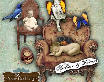 Cute Fairies Digital Collage Sheet Mixed Media Art Images, Altered Art, Decoupage Paper, Junk Journals, Journalling, Babies, Ephemera, Child