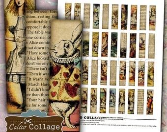 Alice In Wonderland .5x2 Inch Size Images Digital Collage Sheet Printable Download for Pendants, Magnets, Vintage Paper Goods, Scrapbooking