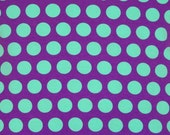 Knit 1 yard purple with mint dots