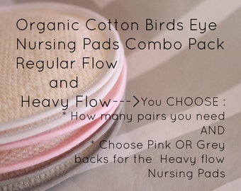 Organic cotton, breast pads,  Reusable Nursing Pads,  Custom