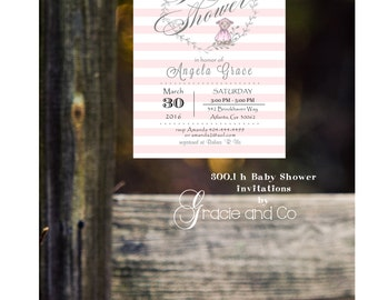 Pink Baby shower invitation printed invitation baby shower striped background lamb invitation baby girl