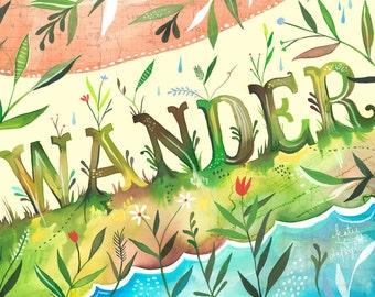 Wander Landscape Art Print | Nature Wall Art |  Katie Daisy | 8x10 | 11x14