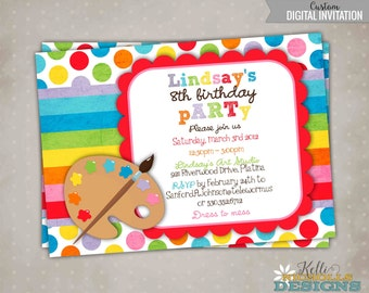 Printable Children's Art Birthday Party Invite, Custom Arts and Crafts Painting Party Invitation, Bright Rainbow Colors #B102