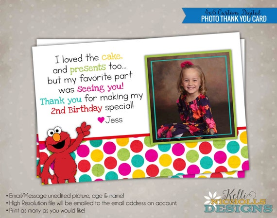 Elmo Sesame Street Picture Thank You Note, Photo Birthday Thank You Card, Girl Colors #B103-G