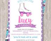 Roller Skating Birthday Invitation - girl birthday, 5x7 printable JPEG PDF