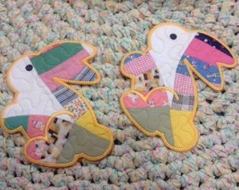 Quilted Mug Rugs Vintage Recycled Quilt Bunnies..#awesomecolor.....#perfectsize.....#greatgift
