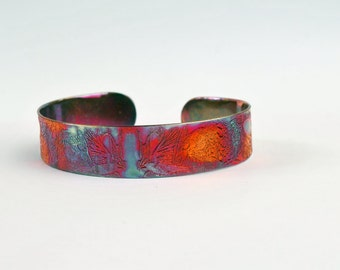 Etched Copper Cuff Bracelet - Rook crow design - slim size