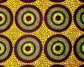 African Fabric 1/2 Yard Cotton YELLOW PURPLE GREEN Circles Dots