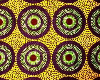African Fabric 1/2 Yard Cotton YELLOW PURPLE GREEN Circles Dots
