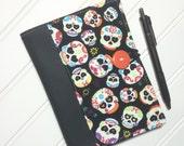 Mini Shopper - Notepad holder List taker - Sugar Skulls with Leather spine