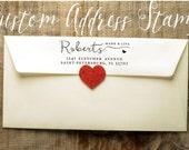 Calligraphy Handwriting Custom Return Address Stamp with heart  - Personalized SELF INKING Wedding Stationery Stamper - Style 1166D