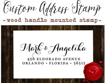 RETURN ADDRESS STAMP Custom calligraphy personalized  address wood handle mounted rubber stamp - style 1172Z