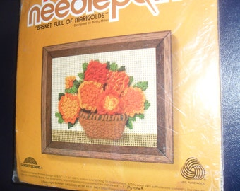 Jiffy NeedlePoint Basket Full of Marigolds Embroidery Kit NIP