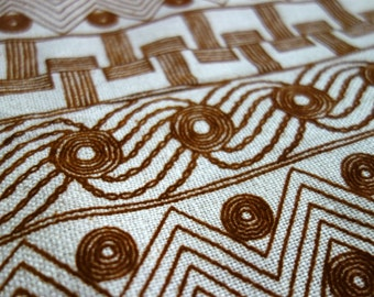 Vintage Linen Fabric, 2.5 Yards of Natural Colored Linen Fabric with Velvety Brown Flocked Geometric Design Pattern, Linen Velvet Flocking