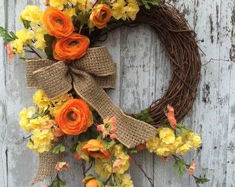 Spring Wreath, Wreath for Door, Summer Wreath, Yellow Wreaths, Home Decor Wreaths