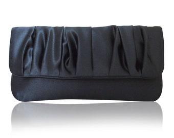 Navy satin Polly clutch purse bag