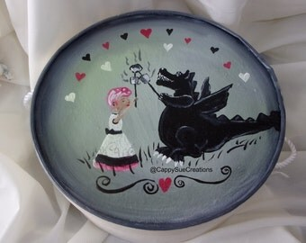 Dragon and girl campfire marshmallows hat box ooak original functional art
