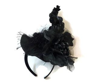 "Witch Hat Fascinator, Mini Hat Headband, Burlesque Headpiece, Sexy Witch Costume Headpiece in Black - ""HOT MESS DIVA"""
