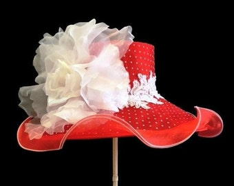 "Kentucky Derby Hat, Easter Hat, Spring Fashion Hat, Sheer Organza Hat in Red and White Polka Dot - ""Flirtatious"""
