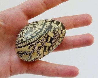 zentangle beach stone one of a kind hand drawn