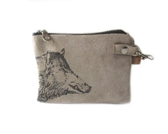 SALE leather wallet beige wild boar screenprint