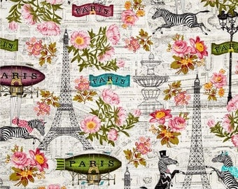 Paris Shower Curtain, Zebras, Eiffel Tower, Whimsical French Shower Curtain, Girl's Bathroom Decor, Cottage Chic Shower Curtain