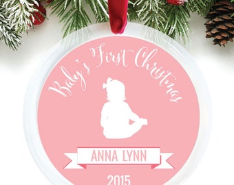 Baby Girl First Christmas Ornament, Personalized Baby Ornament, Custom Ornament Gift, Personalized Newborn Ornament // C-P71-OR ZZ9