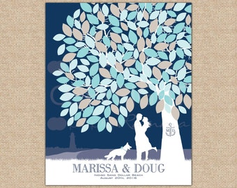 Nautical Wedding, Unique Guestbook, Wedding Tree Guest, Wedding Guestbook, Wedding Wish Tree // ArtPrint or Canvas // W-T05-1PS HH3 04P