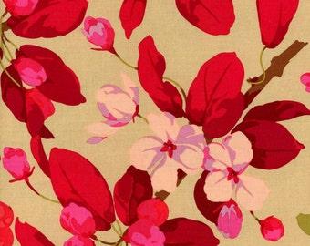 Martha Negley Fabric Crabapple Road in Red for Rowan Fabrics 1/2 Yard