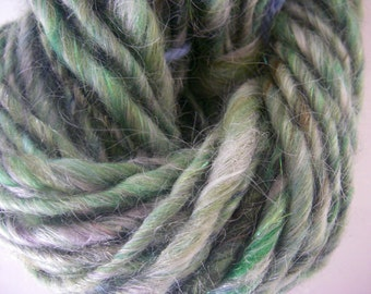Handspun Green Wool, Mohair and Angora Sparkle Yarn in a Worsted Weight by KnoxFarmFiber for Knit Crochet Weave Felt or Embellishment