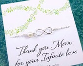 2-DAY 20% OFF SALE Mother of the groom or mother of bride card with silver infinity necklace, pearl necklace, mother in law gift, boxed gift