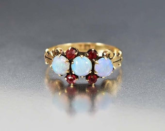 Victorian Opal Ring, Opal Engagement Ring, Gold Antique Engagement Ring, Ruby Paste Ring, Victorian Ring, Antique Jewelry, Anniversary Ring