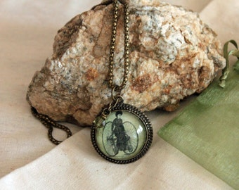 Victorian Steampunk Bicycle Lady Pendant Necklace