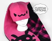 Extra-Long-Eared Punk Bunny Fleece Hat with Custom Color Options
