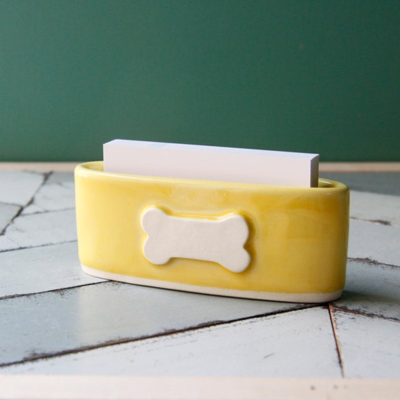 marigold dog bone business card holder
