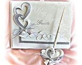 Wedding guest book, interlocking hearts and bells guest book and pen set, linked hearts wedding decorations