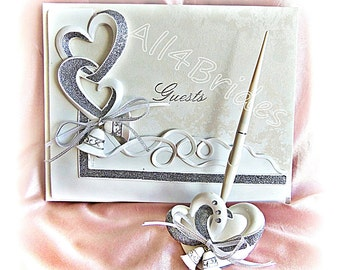 Wedding guest book, hearts and bells guest book and pen set, linked hearts wedding decorations