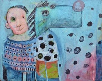 OOAK Original Blue Man Painting on Panel