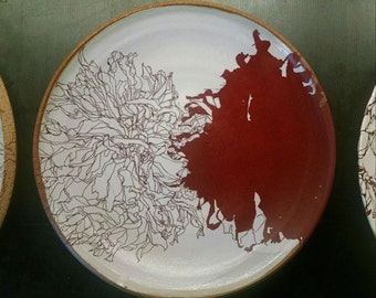 Ceramic Plate Fall Dahlias decals Clay