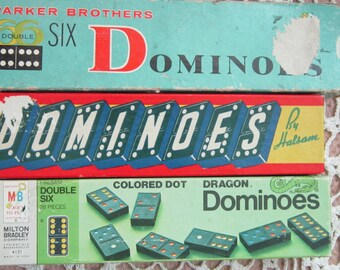 Three Boxes Vintage Dominoes Halsam And Milton Bradley Missing Two