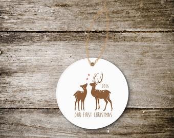 Christmas Ornament, First Christmas Together, First Christmas Married, Our First Christmas, Wedding Gift, Bridal Shower Gift, Deer, Ceramic