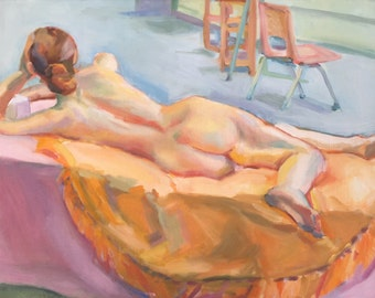 Nude Painting Large 22x28 Reclining Female nude Model Original Oil Painting Figurative Art Impressionist Realist Painting by Gwen Meyerson
