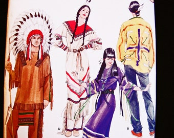 Native American Indian Costume Pattern UNCUT Mens Womens Adult Size Xs to XL Indian Maiden Indian Chief Sewing Pattern