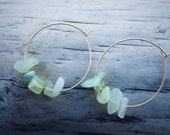 Tumbled Jade Gold Hoops